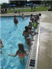 Children Lined up Along the Wall of a Swimming Pool