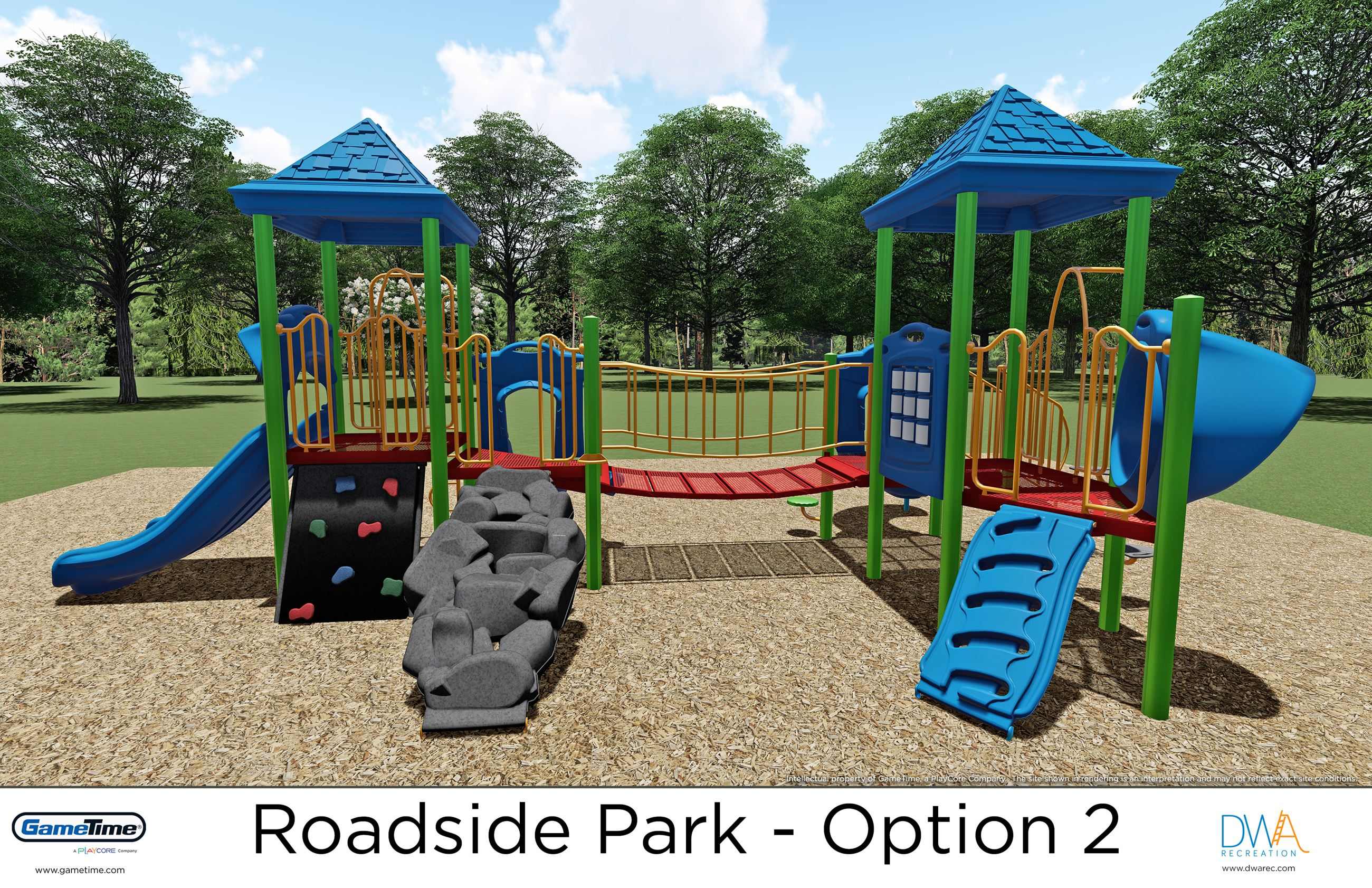 Computer rendering of the new play structure for ages 2-5 planned for Roadside Park