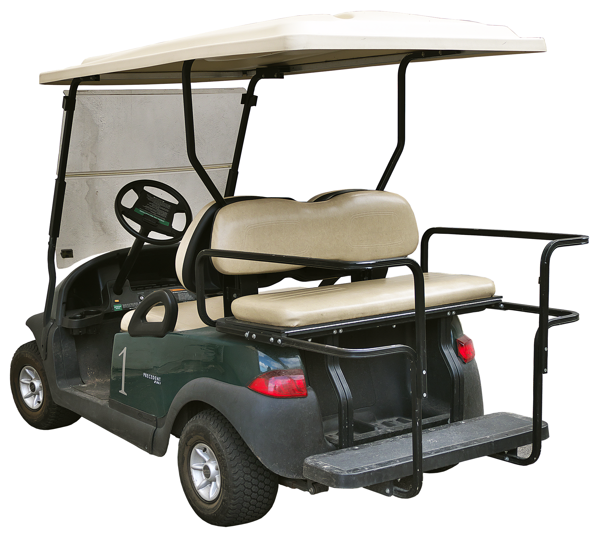 Green electric golf cart