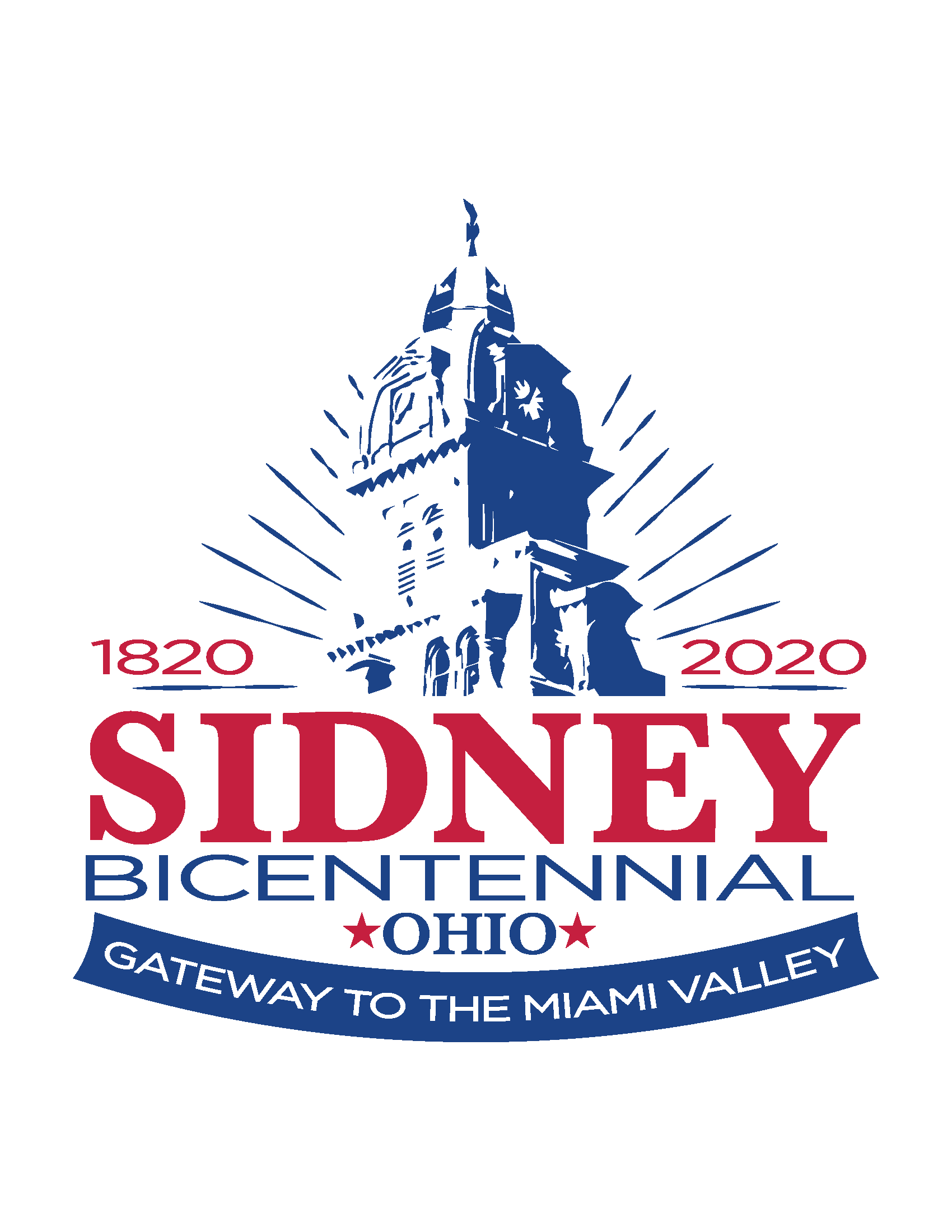 Sidney Bicentennial Logo in Red White and Blue