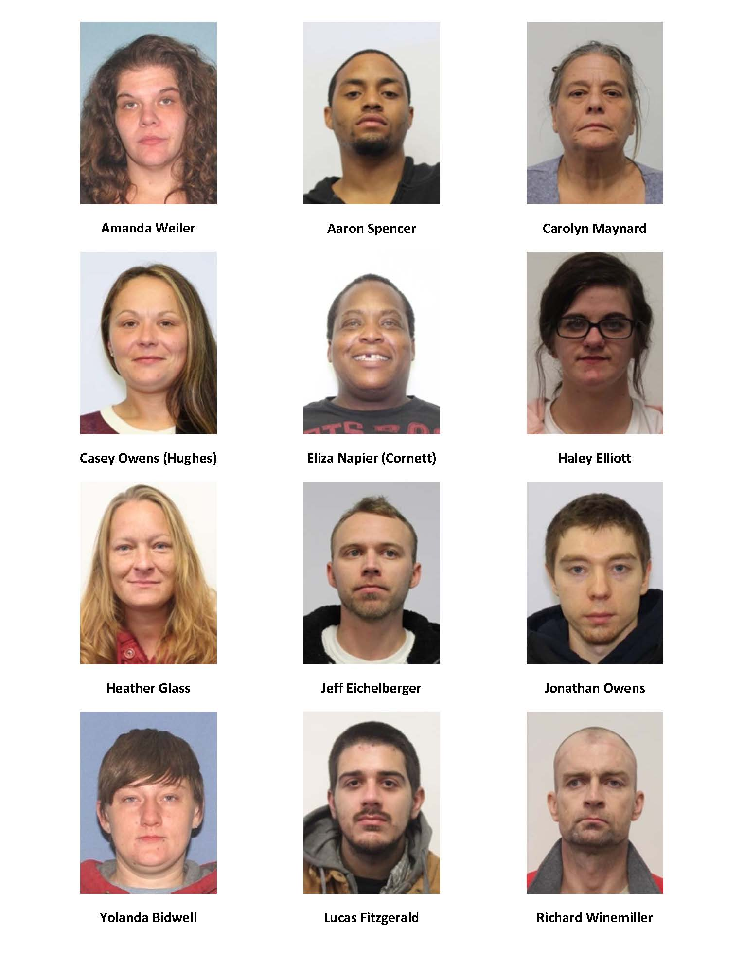 Matrix showing pictures of 12 individuals with felony warrants being sought by police